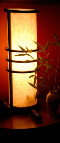 picture of japanese lantern casting warm glow in Hilltop Frog Studio's Red Room